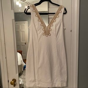 Lilly Pulitzer White Dress with Gold Details